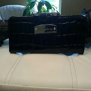 Liz Claiborne black patent leather wallet